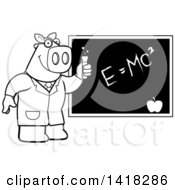 Black And White Lineart Professor Or Scientist Pig By A Chalkboard