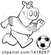 Black And White Lineart Sporty Pig Playing Soccer