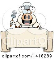 Cartoon Clipart Of A Chef Cow Holding A Spatula Over A Banner Royalty Free Vector Illustration
