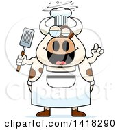 Cartoon Clipart Of A Drunk Chef Cow Holding A Spatula Royalty Free Vector Illustration