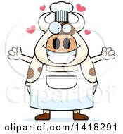 Cartoon Clipart Of A Chef Cow Wanting A Hug Royalty Free Vector Illustration