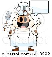 Cartoon Clipart Of A Chef Cow Talking And Holding A Spatula Royalty Free Vector Illustration