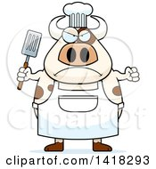 Cartoon Clipart Of A Mad Chef Cow Holding A Spatula Royalty Free Vector Illustration