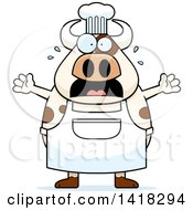 Cartoon Clipart Of A Scared Chef Cow Screaming Royalty Free Vector Illustration