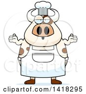Cartoon Clipart Of A Careless Chef Cow Shrugging Royalty Free Vector Illustration