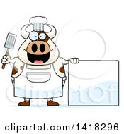 Cartoon Clipart Of A Chef Cow Holding A Spatula By A Blank Sign Royalty Free Vector Illustration