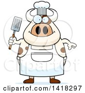 Cartoon Clipart Of A Chef Cow Holding A Spatula Royalty Free Vector Illustration