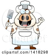 Cartoon Clipart Of A Chef Cow Waving And Holding A Spatula Royalty Free Vector Illustration