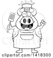 Cartoon Clipart Of A Black And White Lineart Drunk Chef Cow Holding A Spatula Royalty Free Vector Illustration by Cory Thoman