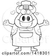 Cartoon Clipart Of A Black And White Lineart Chef Cow Wanting A Hug Royalty Free Vector Illustration