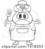 Cartoon Clipart Of A Black And White Lineart Mad Chef Cow Holding A Spatula Royalty Free Vector Illustration by Cory Thoman