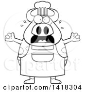 Black And White Lineart Scared Chef Cow Screaming