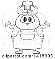 Cartoon Clipart Of A Black And White Lineart Careless Chef Cow Shrugging Royalty Free Vector Illustration