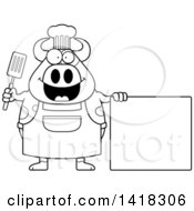 Black And White Lineart Chef Cow Holding A Spatula By A Blank Sign
