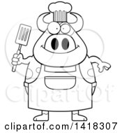 Black And White Lineart Chef Cow Holding A Spatula