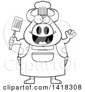 Black And White Lineart Chef Cow Waving And Holding A Spatula