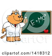 Cartoon Clipart Of A Professor Or Scientist Ginger Cat By A Chalkboard Royalty Free Vector Illustration by Cory Thoman