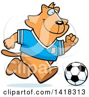 Cartoon Clipart Of A Sporty Ginger Cat Playing Soccer Royalty Free Vector Illustration