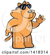 Cartoon Clipart Of A Friendly Ginger Cat Wearing Sunglasses And Waving Royalty Free Vector Illustration