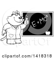 Black And White Lineart Professor Or Scientist Cat By A Chalkboard