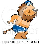 Cartoon Clipart Of A Swimmer Lion Diving Royalty Free Vector Illustration