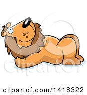 Cartoon Clipart Of A Relaxed Lion Resting On His Back And Stargazing Royalty Free Vector Illustration