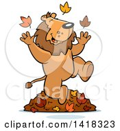 Cartoon Clipart Of A Happy Lion Playing In Autumn Leaves Royalty Free Vector Illustration