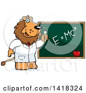 Cartoon Clipart Of A Professor Or Scientist Lion By A Chalkboard Royalty Free Vector Illustration by Cory Thoman