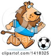 Cartoon Clipart Of A Sporty Lion Playing Soccer Royalty Free Vector Illustration