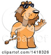 Cartoon Clipart Of A Friendly Lion Wearing Sunglasses And Waving Royalty Free Vector Illustration