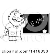 Cartoon Clipart Of A Black And White Lineart Professor Or Scientist Lion By A Chalkboard Royalty Free Vector Illustration