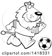 Cartoon Clipart Of A Black And White Lineart Sporty Lion Playing Soccer Royalty Free Vector Illustration
