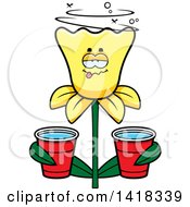 Cartoon Clipart Of A Drunk Daffodil Flower Holding Cups Royalty Free Vector Illustration by Cory Thoman