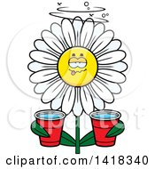 Cartoon Clipart Of A Drunk Daisy Flower Holding Cups Royalty Free Vector Illustration by Cory Thoman