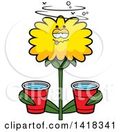 Cartoon Clipart Of A Drunk Dandelion Flower Holding Cups Royalty Free Vector Illustration