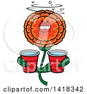 Cartoon Clipart Of A Drunk Marigold Flower Holding Cups Royalty Free Vector Illustration by Cory Thoman