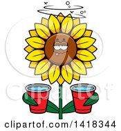 Cartoon Clipart Of A Drunk Sunflower Holding Cups Royalty Free Vector Illustration by Cory Thoman