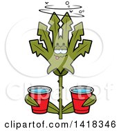 Cartoon Clipart Of A Drunk Cannabis Leaf Leaf Holding Cups Royalty Free Vector Illustration
