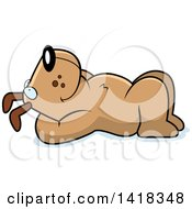 Cartoon Clipart Of A Relaxed Dog Resting On His Back And Stargazing Royalty Free Vector Illustration