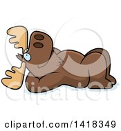 Cartoon Clipart Of A Relaxed Moose Resting On His Back And Stargazing Royalty Free Vector Illustration by Cory Thoman