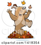 Cartoon Clipart Of A Happy Dog Playing In Autumn Leaves Royalty Free Vector Illustration