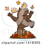 Cartoon Clipart Of A Happy Moose Playing In Autumn Leaves Royalty Free Vector Illustration by Cory Thoman