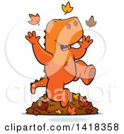 Happy Tyrannosaurus Rex Playing In Autumn Leaves