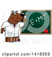 Cartoon Clipart Of A Professor Or Scientist Bear By A Chalkboard Royalty Free Vector Illustration by Cory Thoman