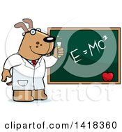Cartoon Clipart Of A Professor Or Scientist Dog By A Chalkboard Royalty Free Vector Illustration by Cory Thoman