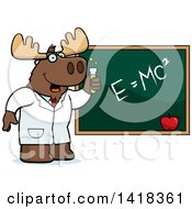 Cartoon Clipart Of A Professor Or Scientist Moose By A Chalkboard Royalty Free Vector Illustration by Cory Thoman