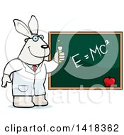 Cartoon Clipart Of A Professor Or Scientist Rabbit By A Chalkboard Royalty Free Vector Illustration by Cory Thoman