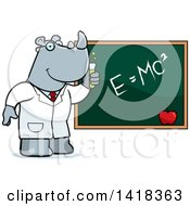 Cartoon Clipart Of A Professor Or Scientist Rhino By A Chalkboard Royalty Free Vector Illustration by Cory Thoman