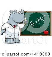Professor Or Scientist Rhino By A Chalkboard