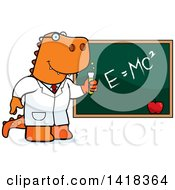Cartoon Clipart Of A Professor Or Scientist Tyrannosaurus Rex By A Chalkboard Royalty Free Vector Illustration by Cory Thoman